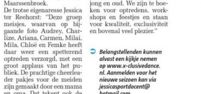 krantenbericht X-clusive Dance Maarssen